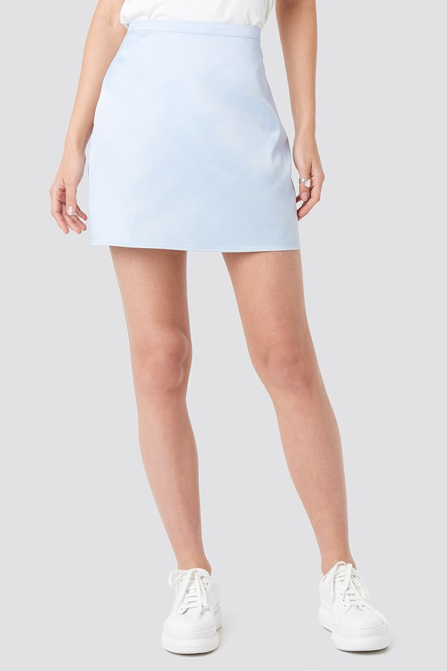 Satin Mini Skirt Pale Blue