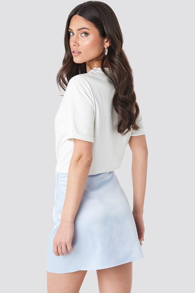 Satin Mini Skirt Pale Blue