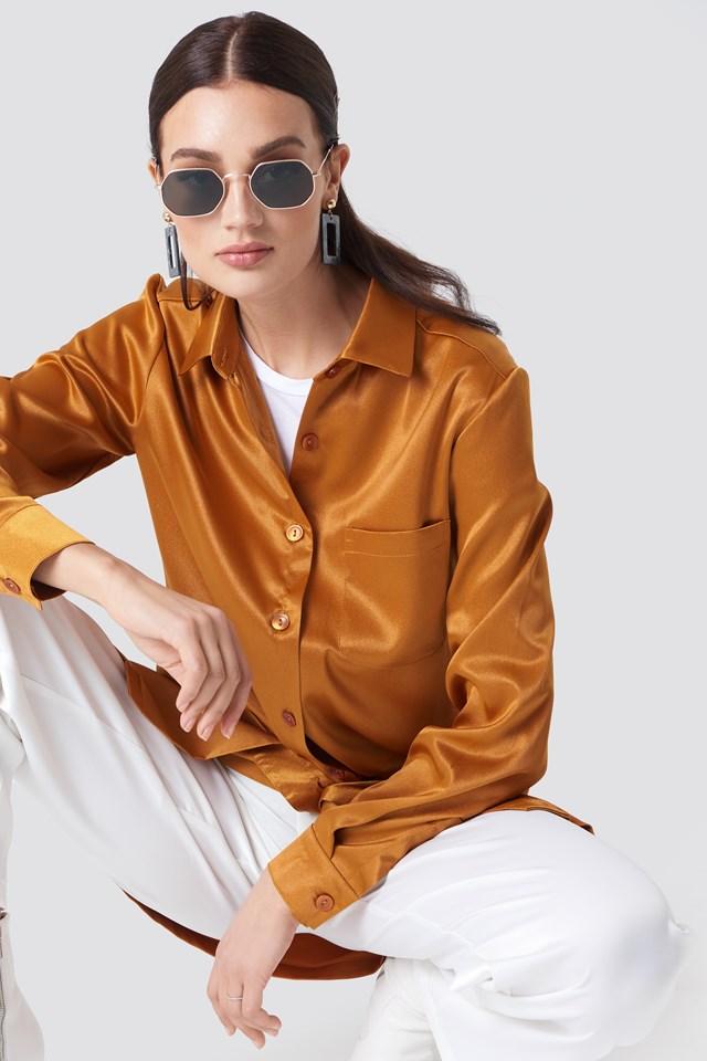 Satin Oversized Shirt Rust