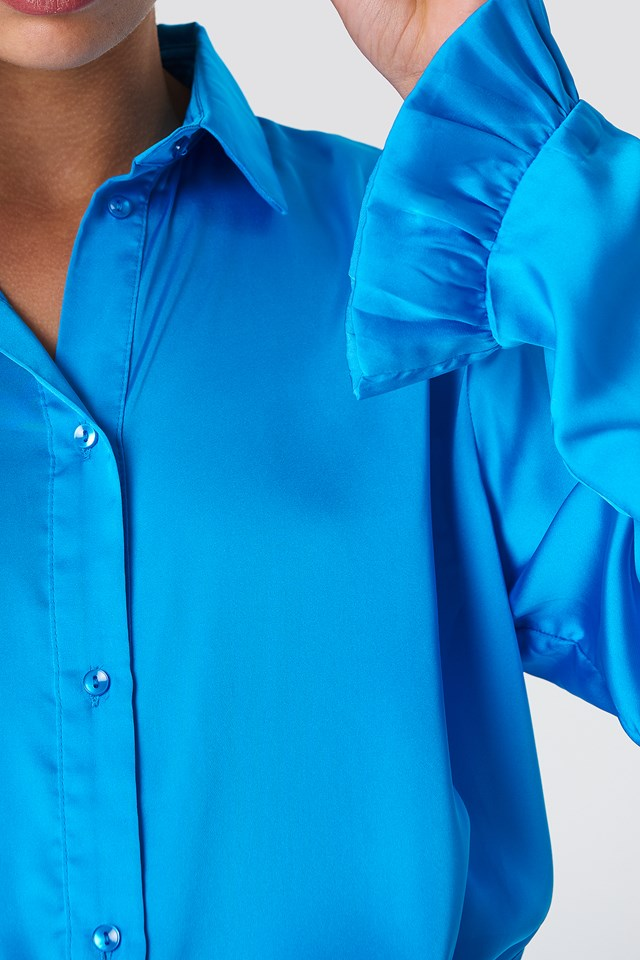 Satin Shirt Ocean Blue