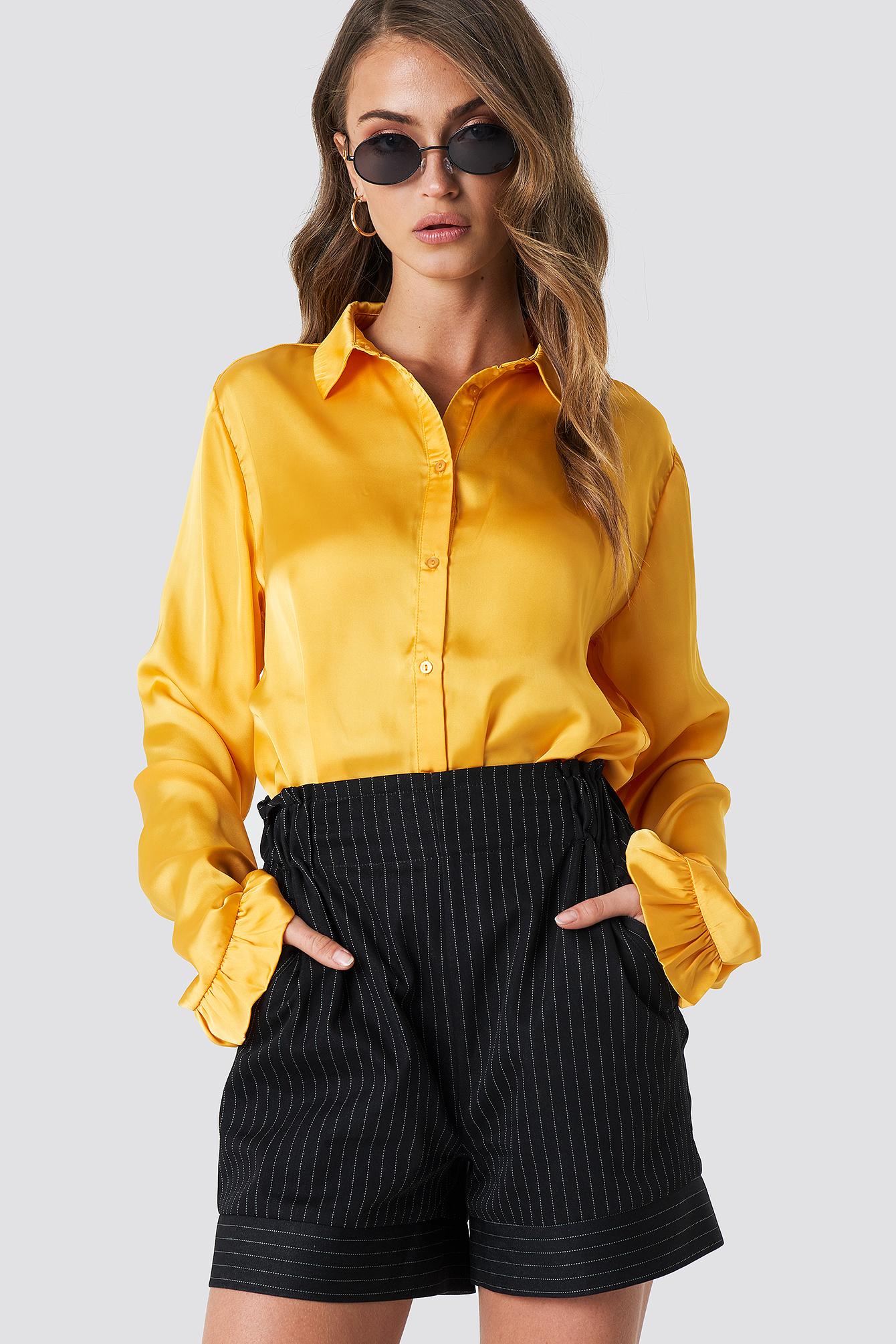 na-kd -  Satin Shirt - Yellow