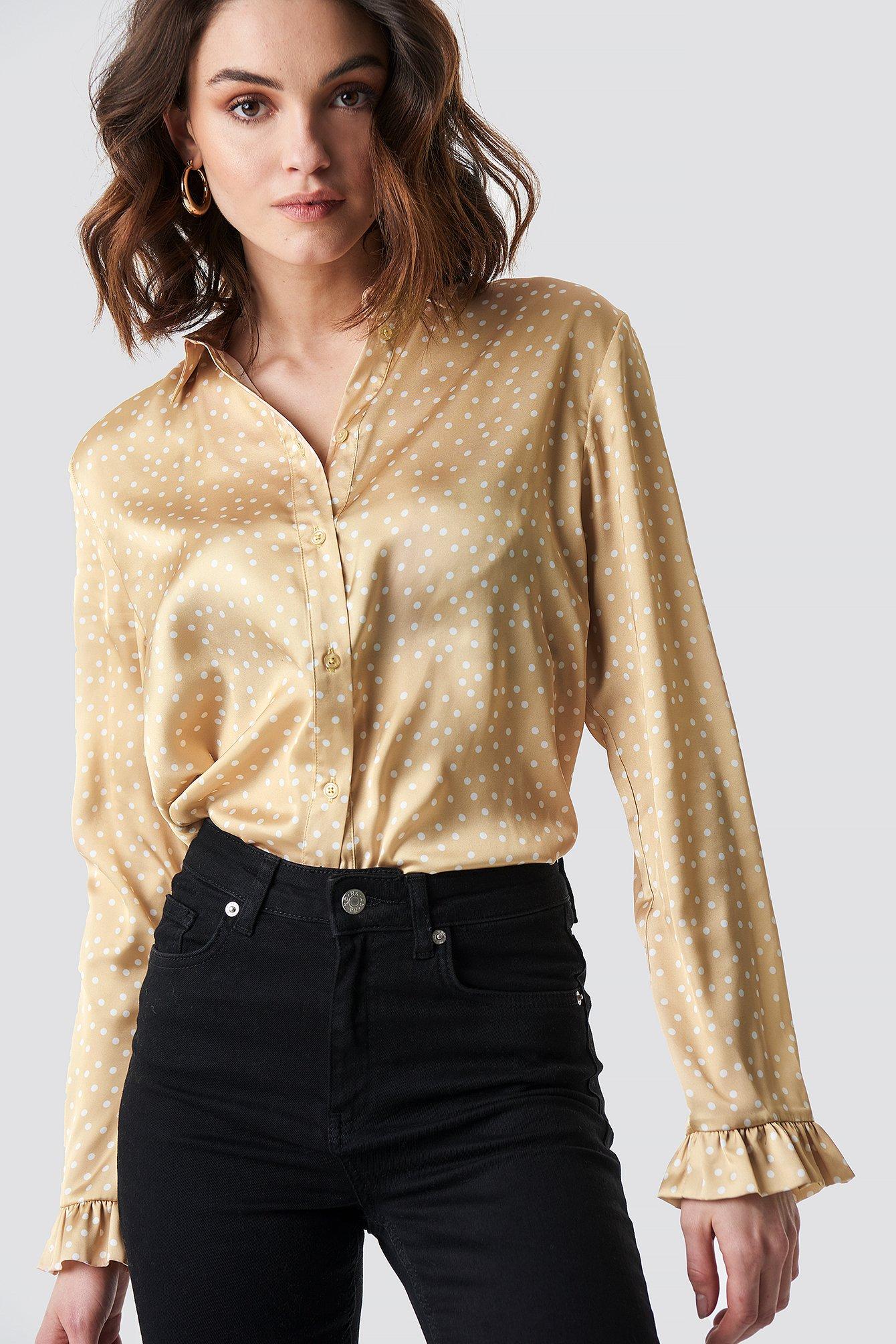 na-kd -  Satin Shirt - Beige