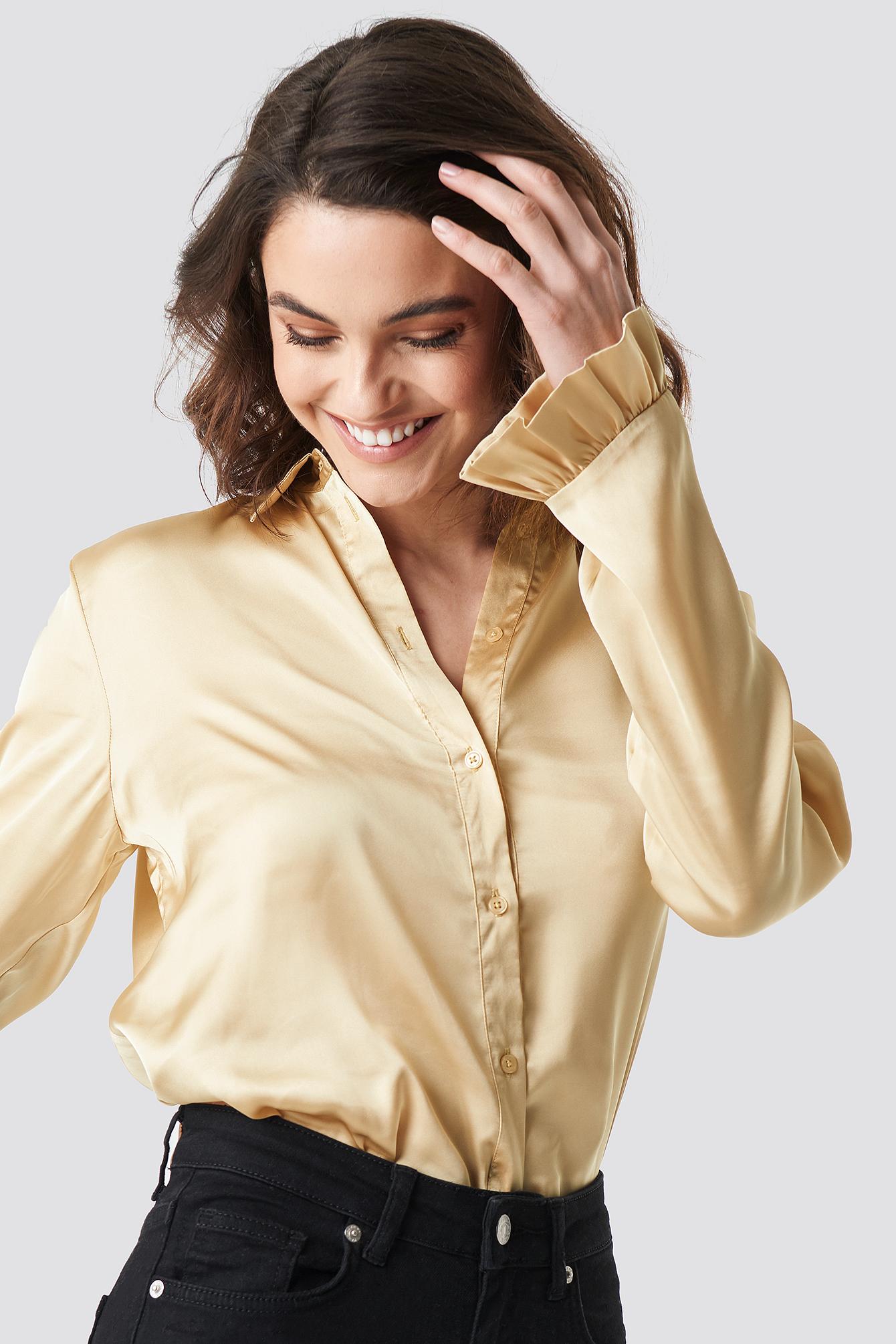 na-kd -  Satin Shirt - Beige,Gold