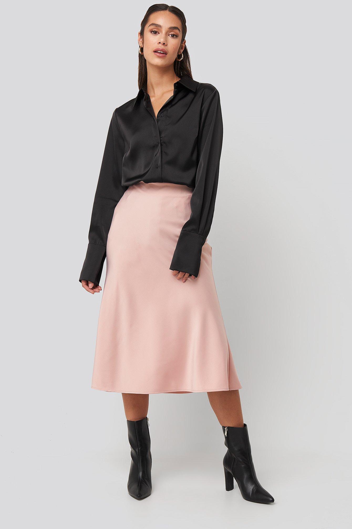 na-kd classic -  Satin Skirt - Pink