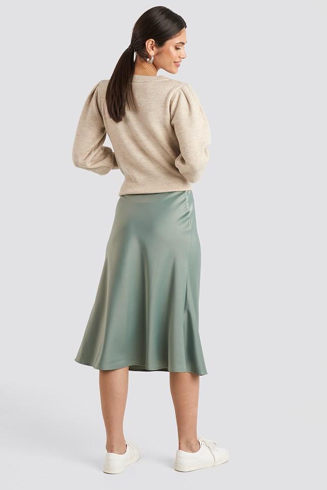 Satin Skirt Dusty Green