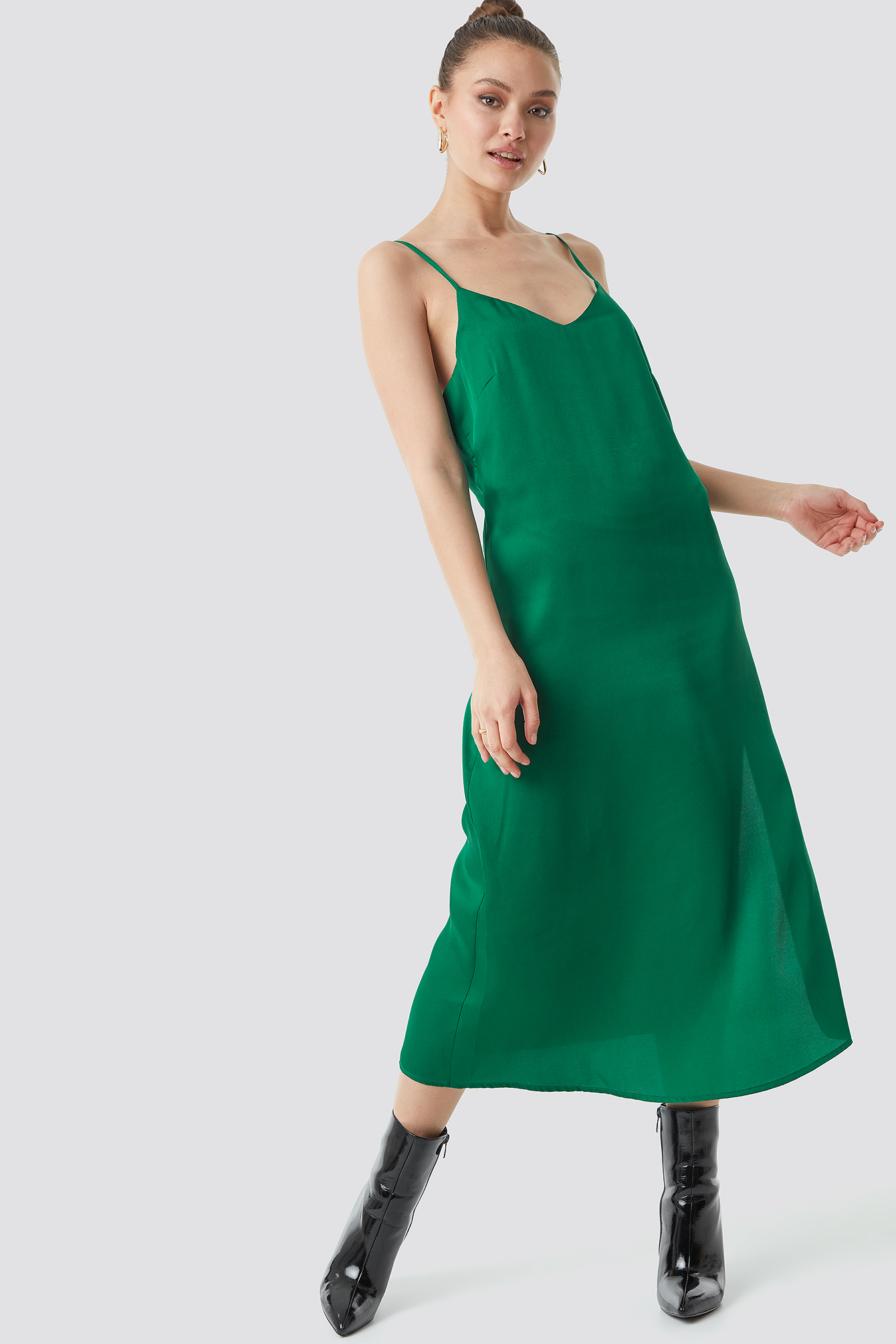 Satin Slip Dress Green NA-KD