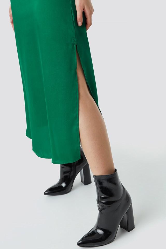 Satin Slip Dress Emerald Green