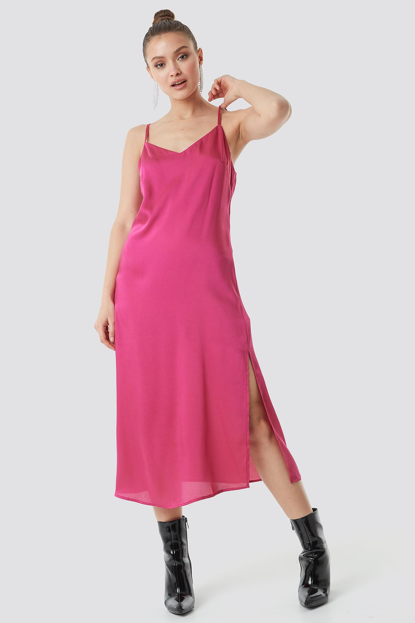 na-kd -  Satin Slip Dress - Pink