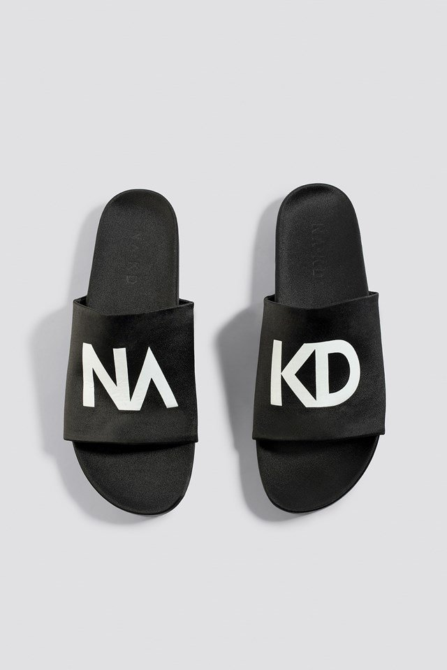 NA-KD Satin Slippers Black