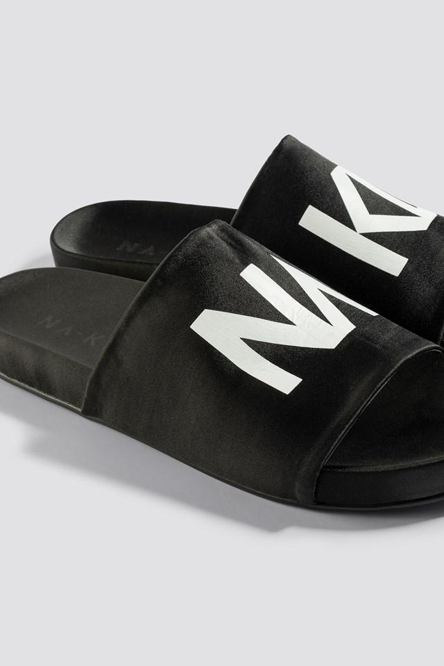 NA-KD Satin Slippers Black