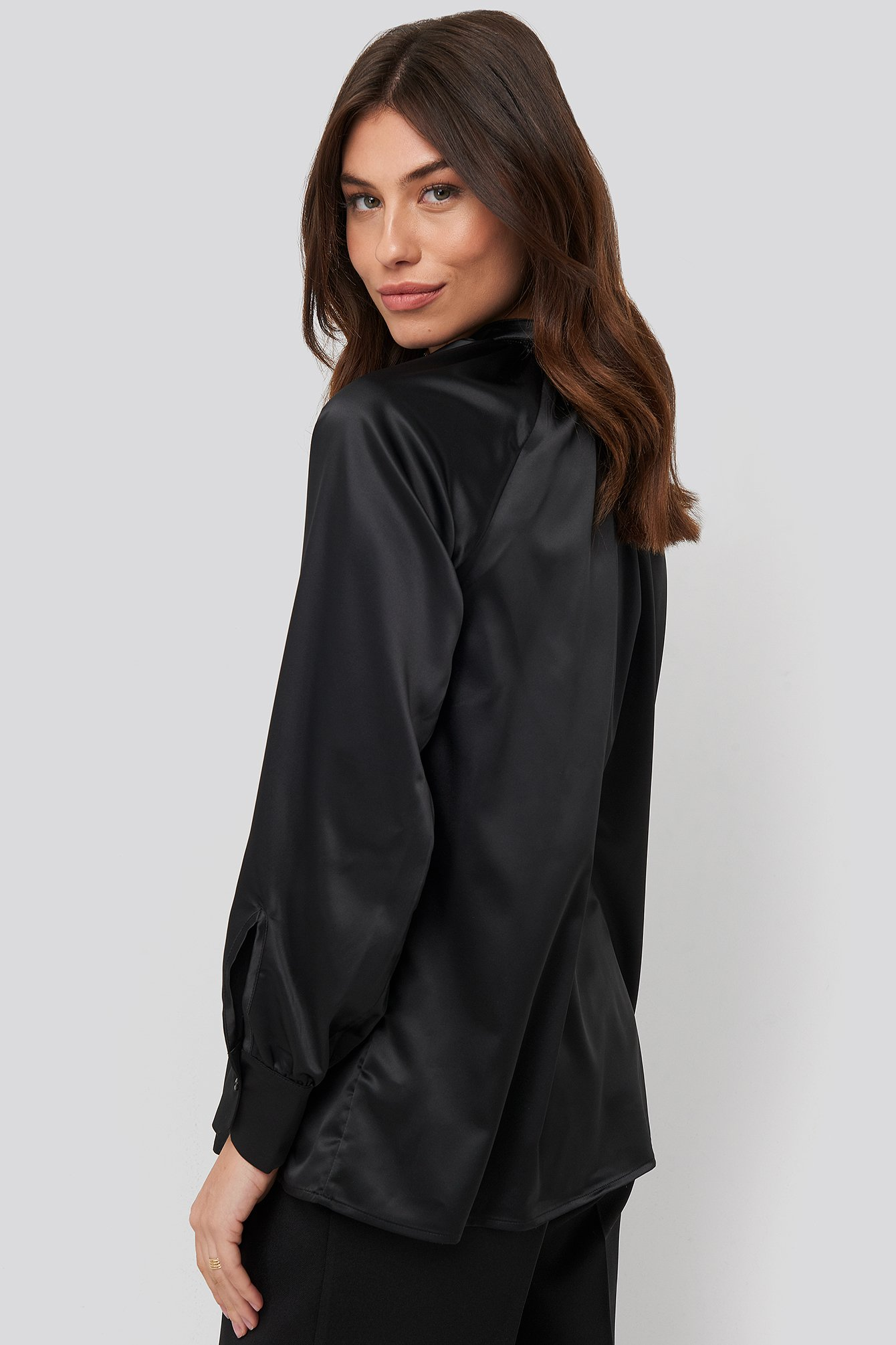 Black Satin Smock Blouse