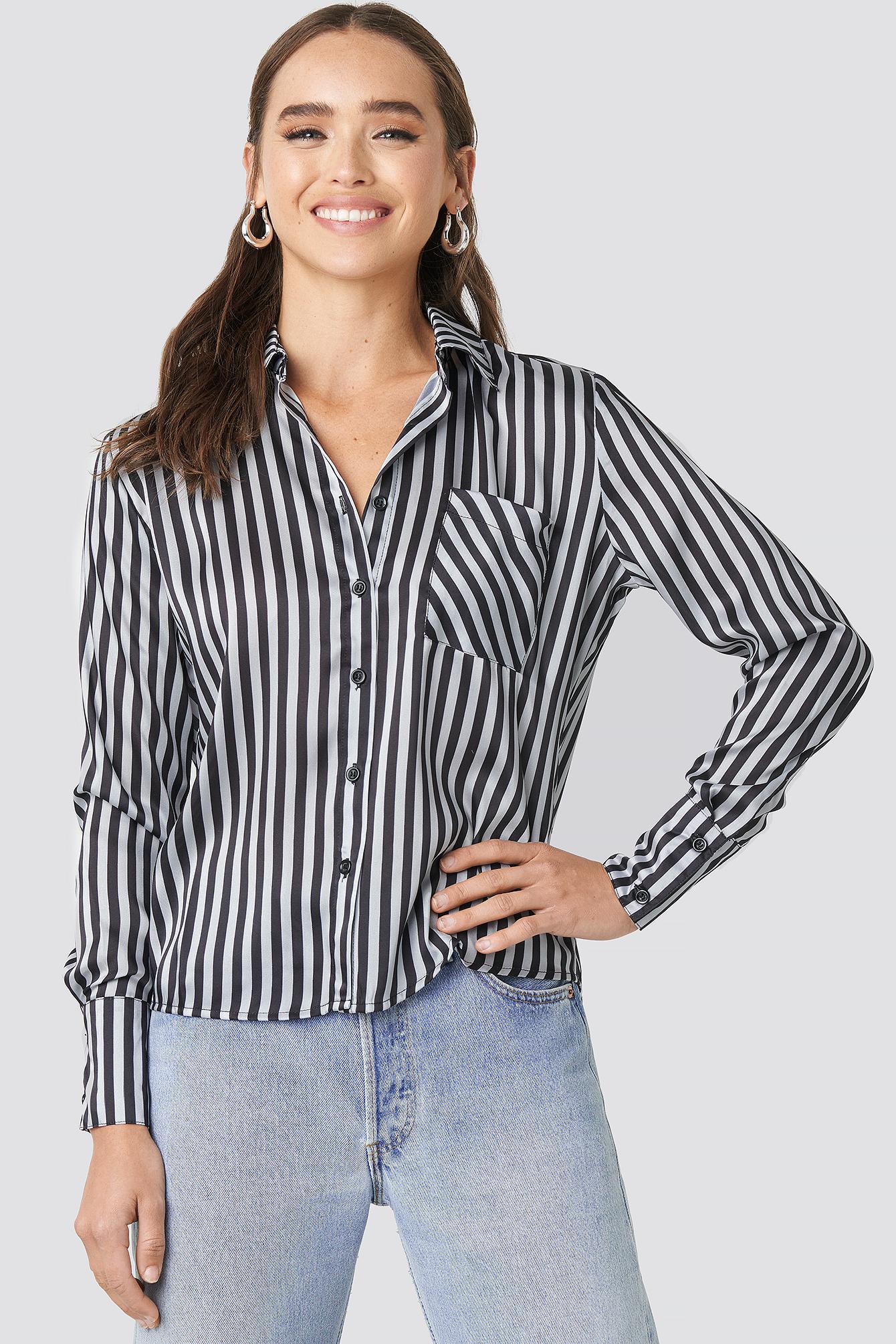 na-kd trend -  Satin Stripe Shirt - Black,Silver