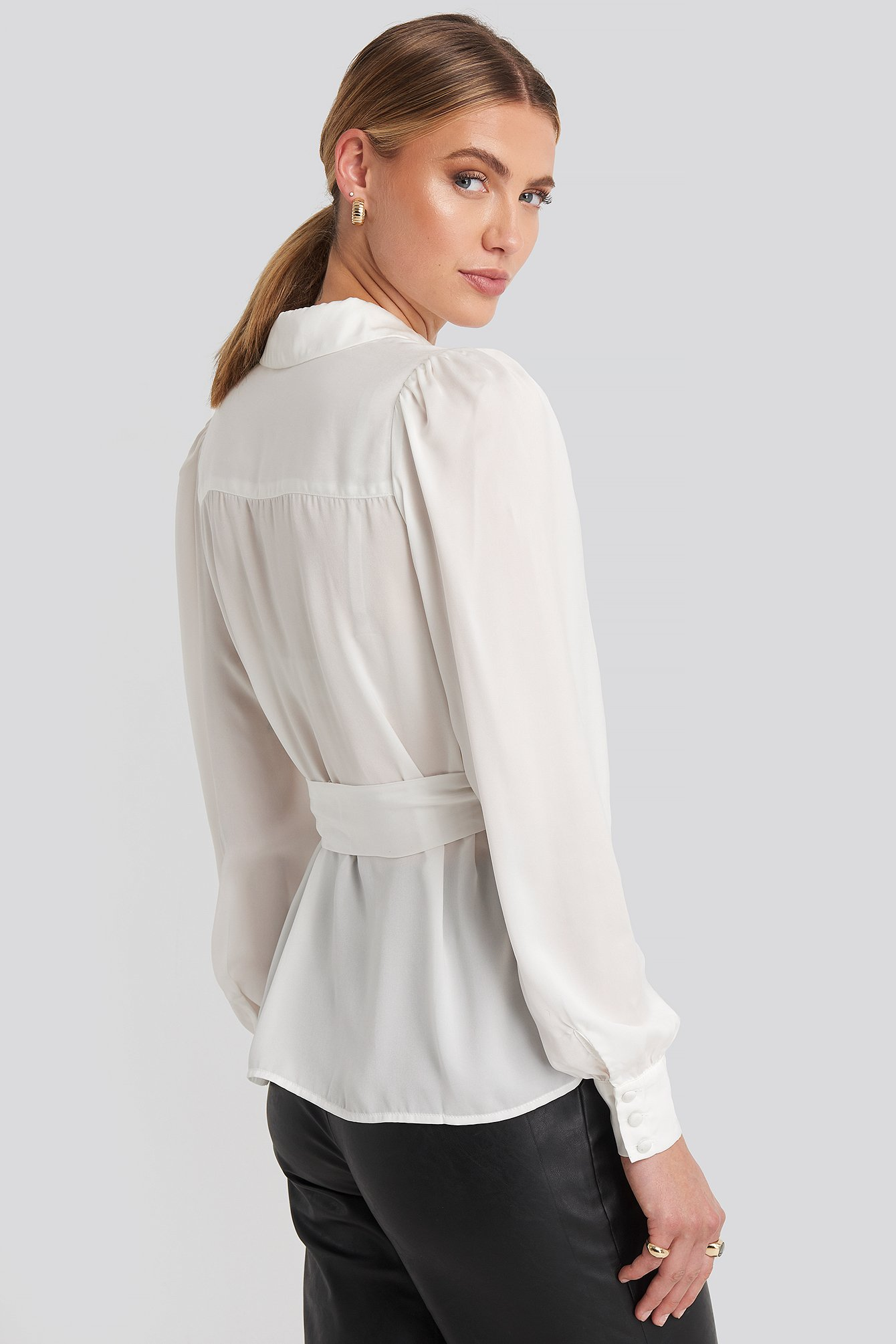 Satin Waistband Blouse Blanc by Na Kd Party