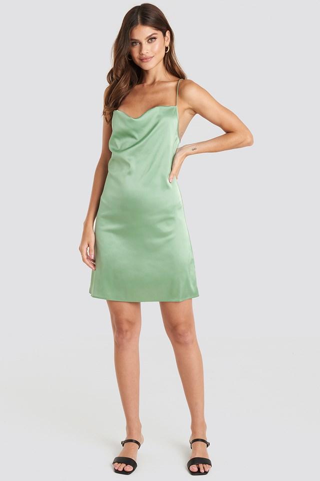 Satin Waterfall Mini Dress Dusty Green