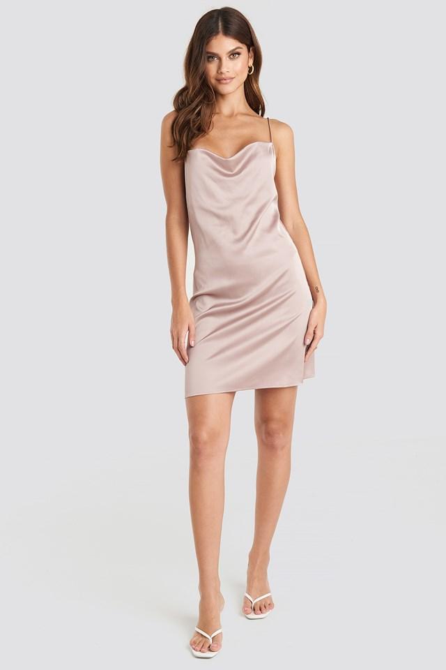 Satin Waterfall Mini Dress Pink