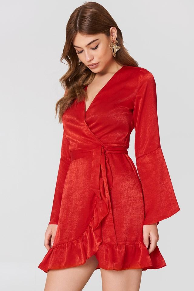 Satin Wrap Dress Red