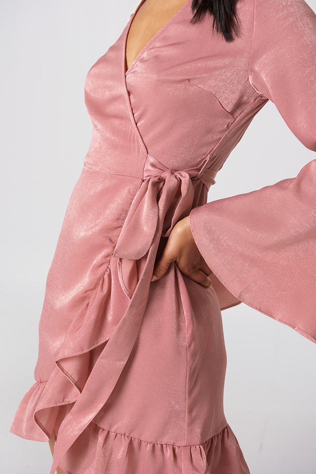 Satin Wrap Dress Dusty Pink