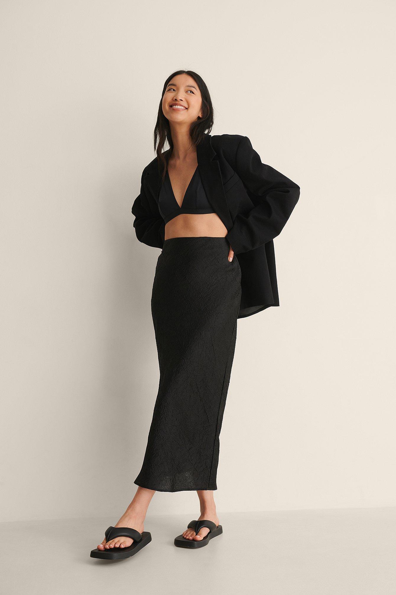na-kd classic -  Satin Wrinkle Skirt - Black