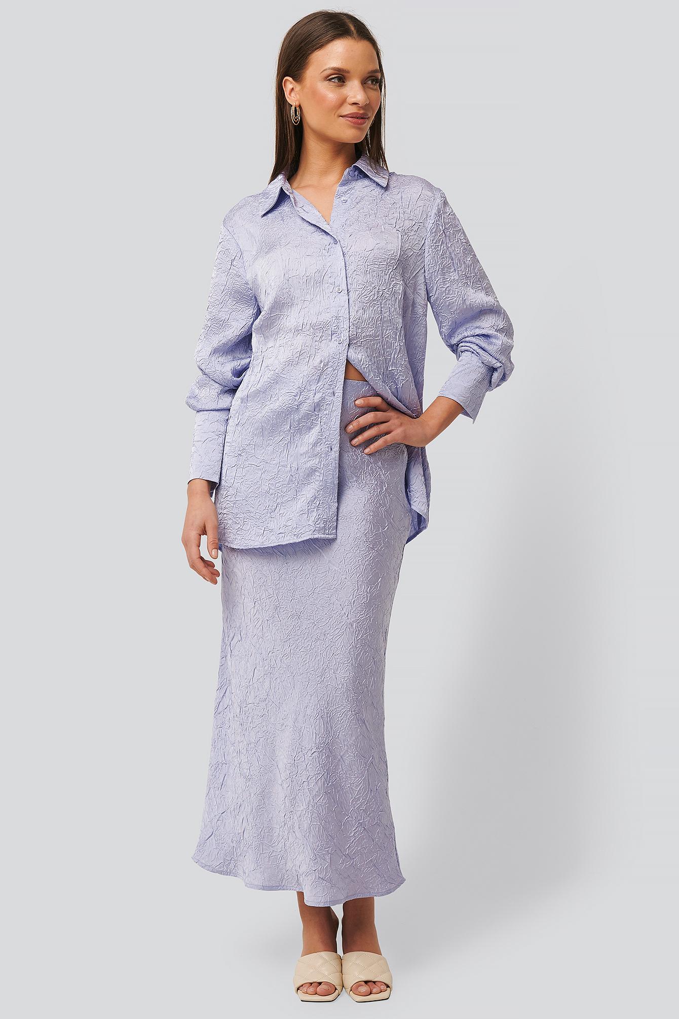 na-kd classic -  Satin Wrinkle Skirt - Purple