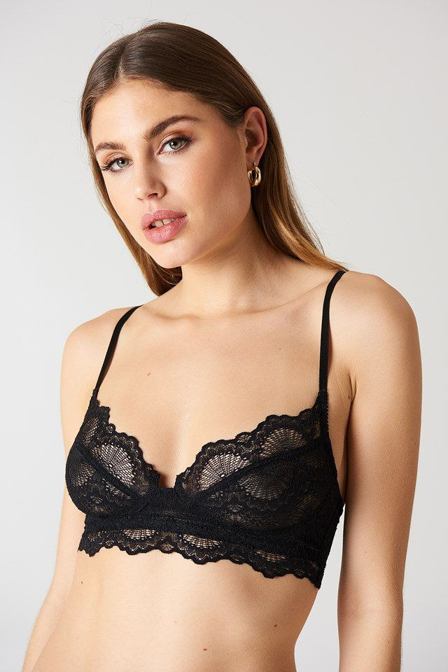 Scalloped Edge Lace Bra Black