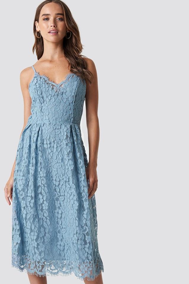 Scalloped Edge Lace Dress Dusty Blue