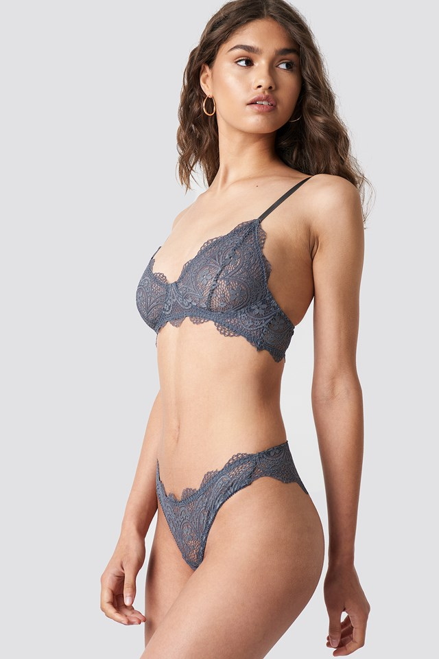 Scalloped Floral Lace Bra Anthracite
