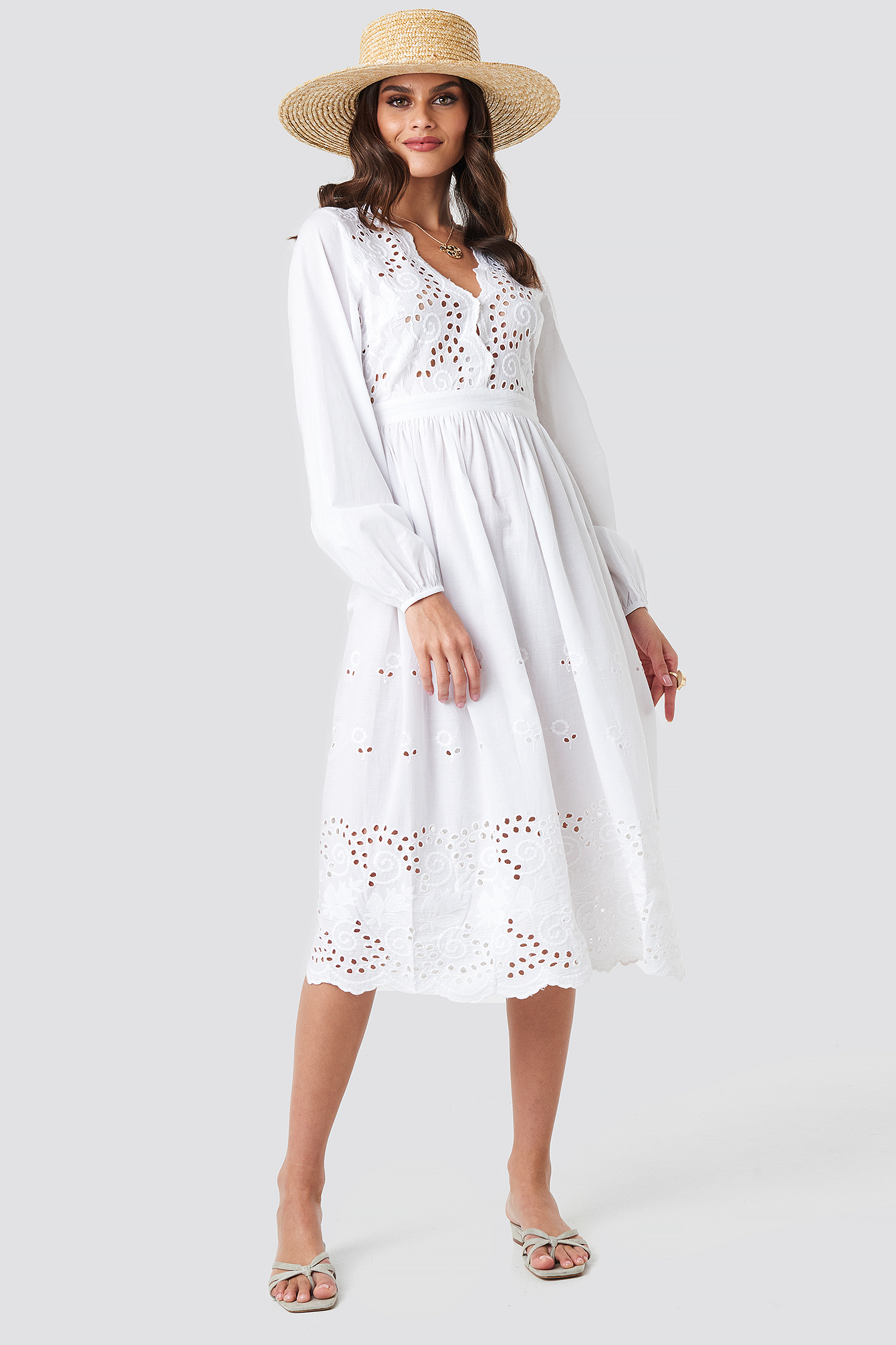 Scalloped Front Crochet Detail Dress NA-KD.COM