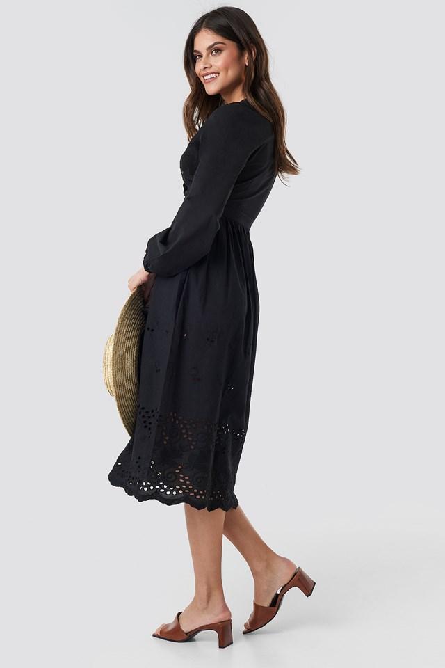 Scalloped Front Crochet Detail Dress Black