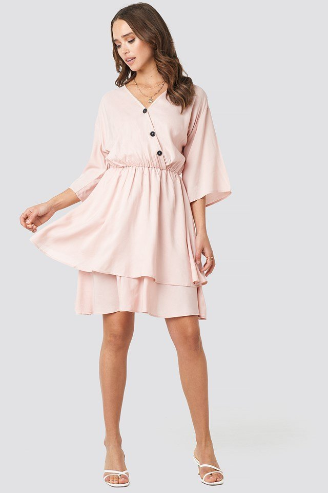 Contrast Button Layered Dress Nude Pink