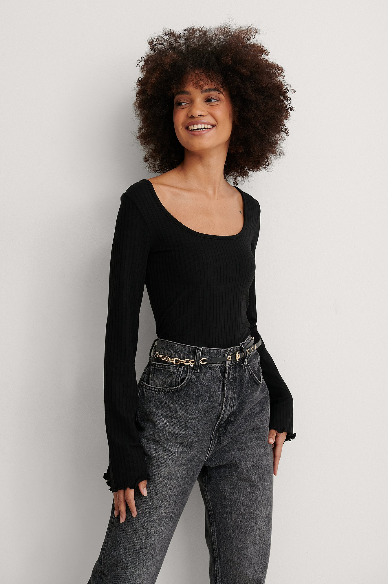 Black Scoop Neck Trumpet Sleeve Top