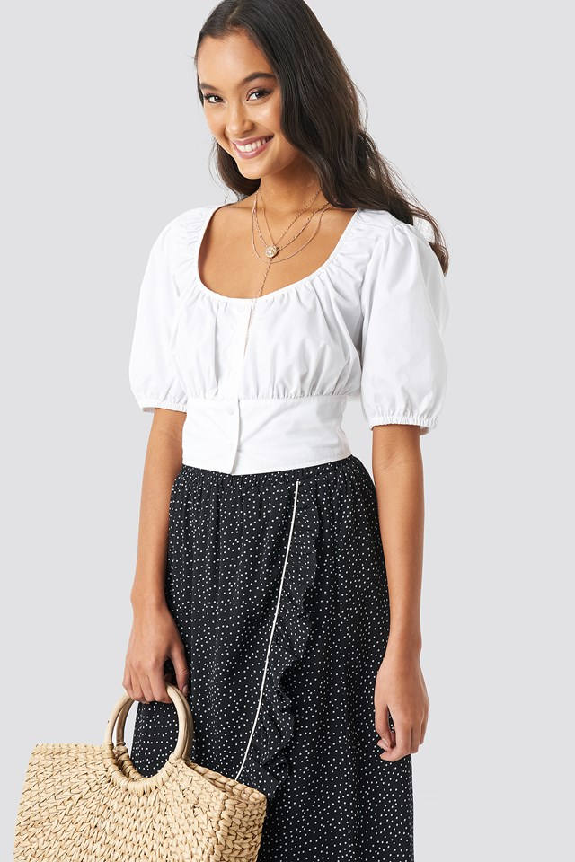 Scoop Neckline Button Crop Top White