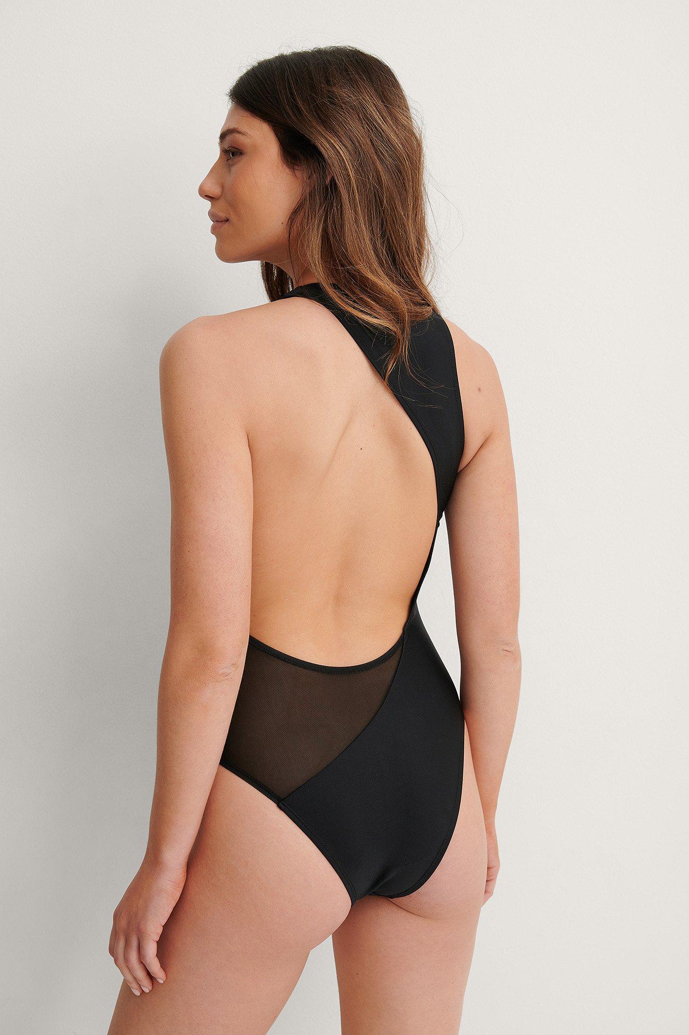 NA-KD Swimwear Genanvendt Badedragt - Black