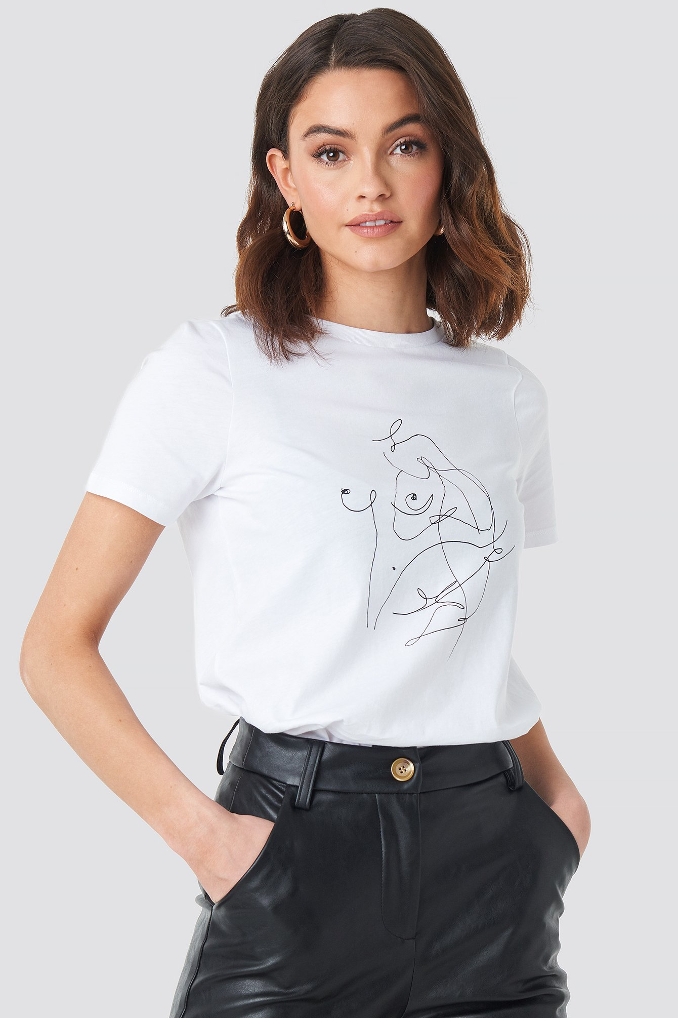 na-kd -  Scribble T-shirt - White