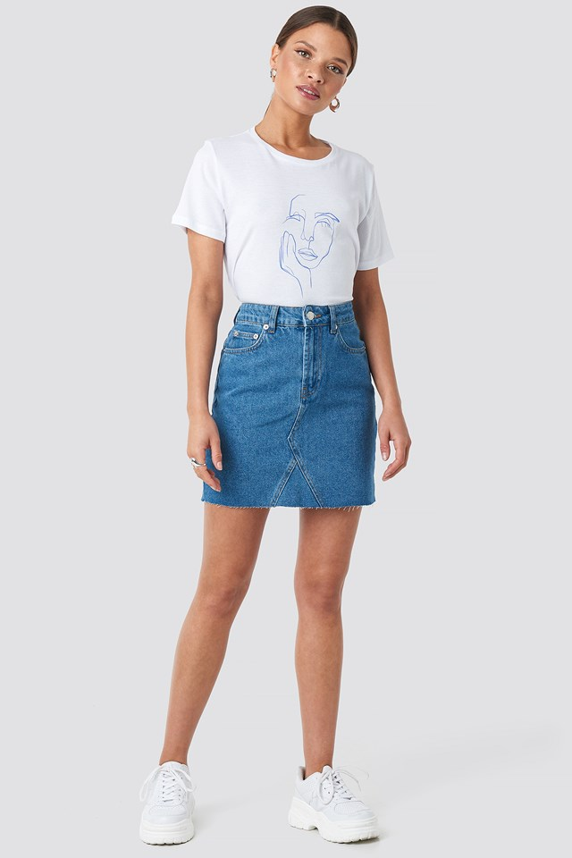 Sculpture Face Printed Tee White