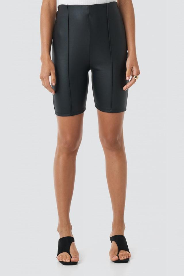 Front Seam Coated Shorts Black