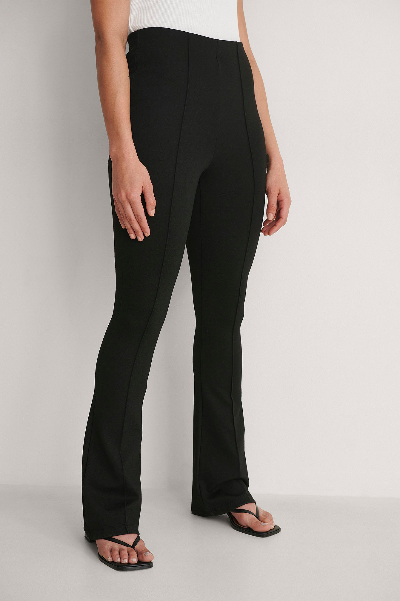 Black Seam Detail Jersey Pants