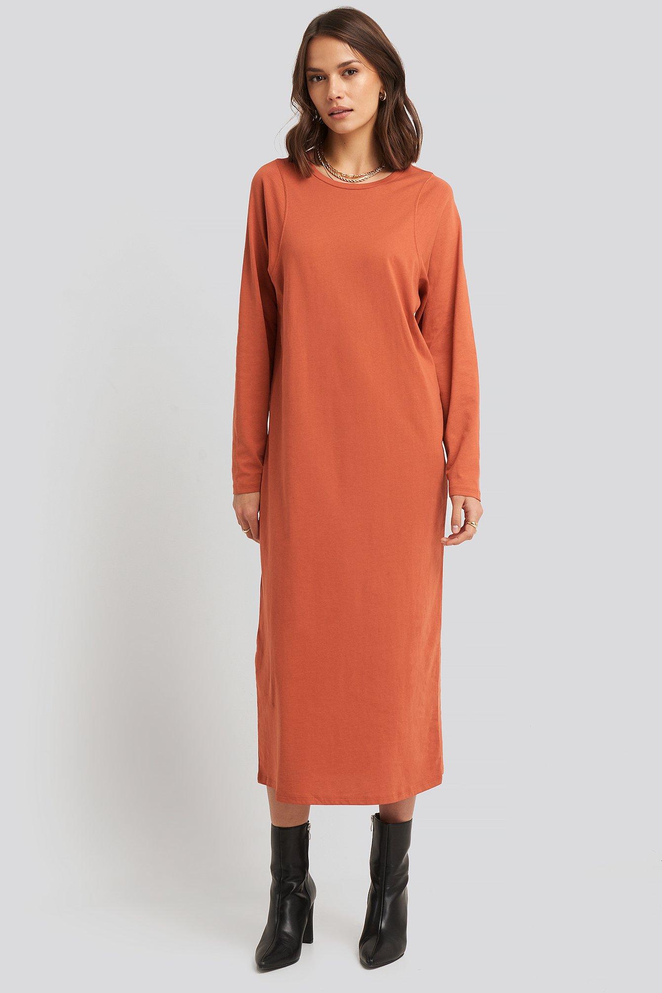 NA-KD Basic Seam Detail Long Sleeve T-shirt Dress - Orange