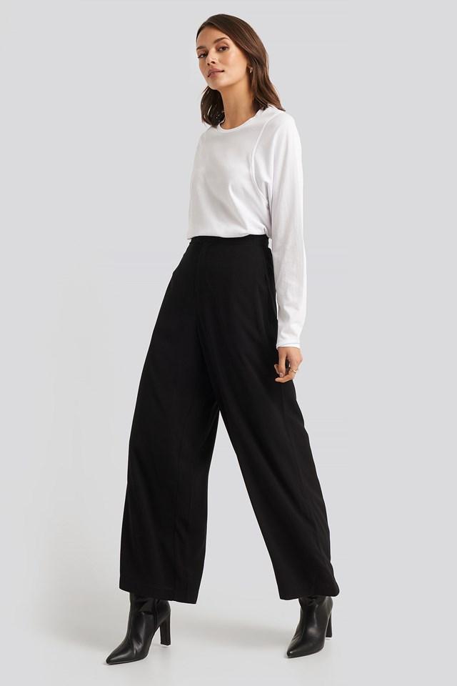 Seam Detail Long Sleeve T-shirt White