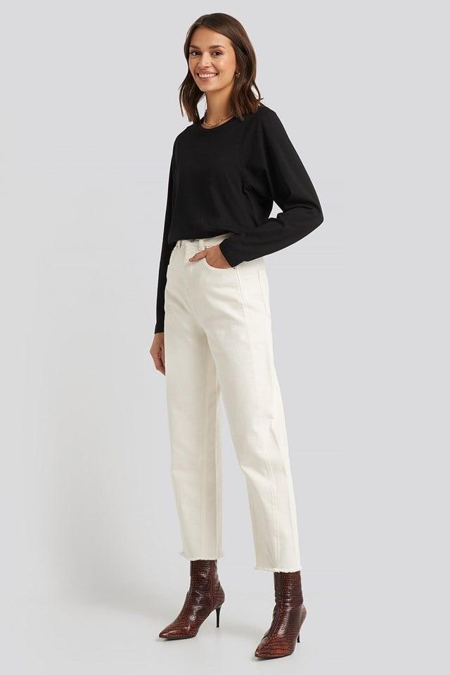 Seam Detail Long Sleeve T-shirt Black