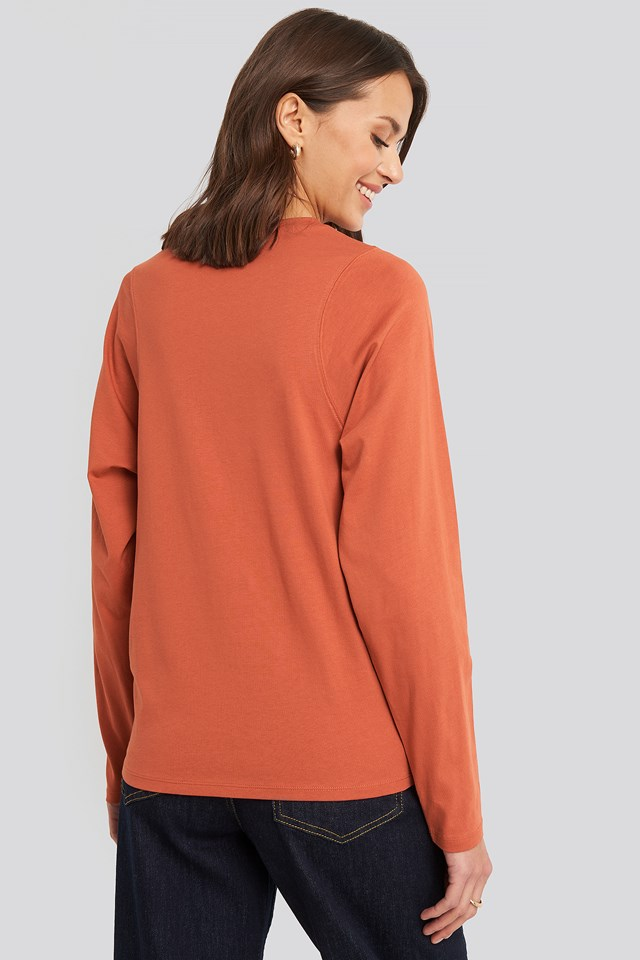 Seam Detail Long Sleeve T-shirt Orange