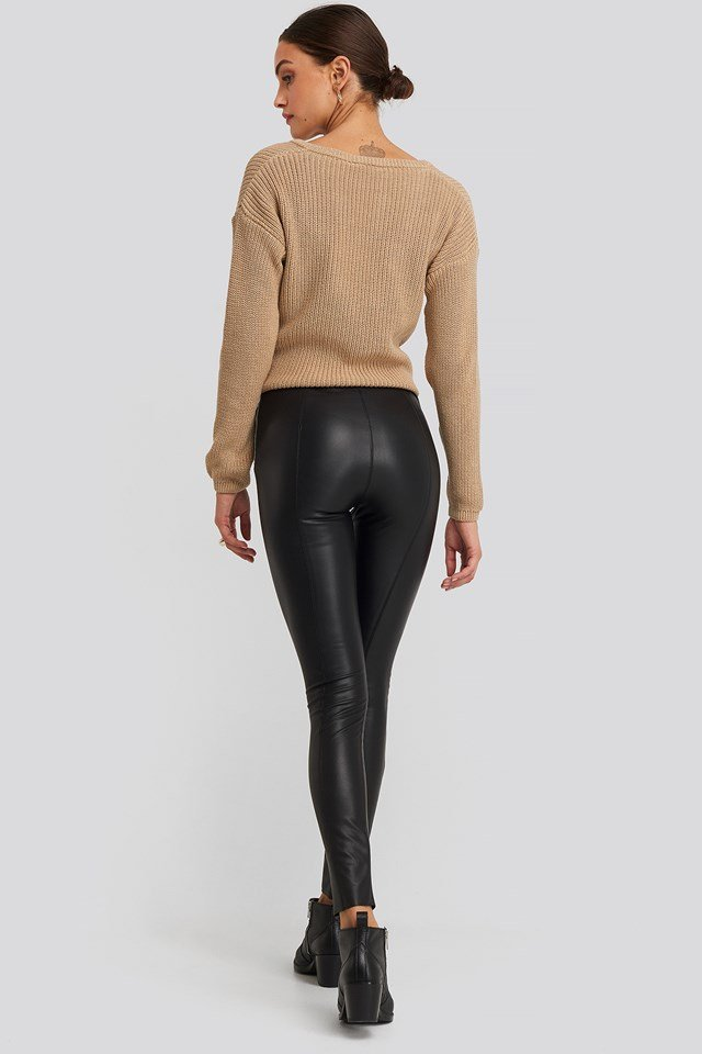 Seam Detail PU Pants Black