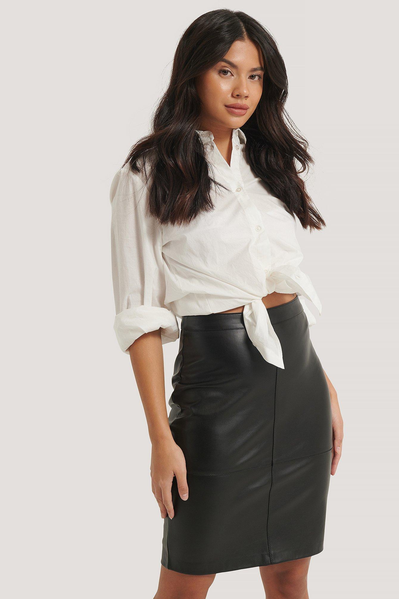 na-kd -  Seam Detail PU Skirt - Black