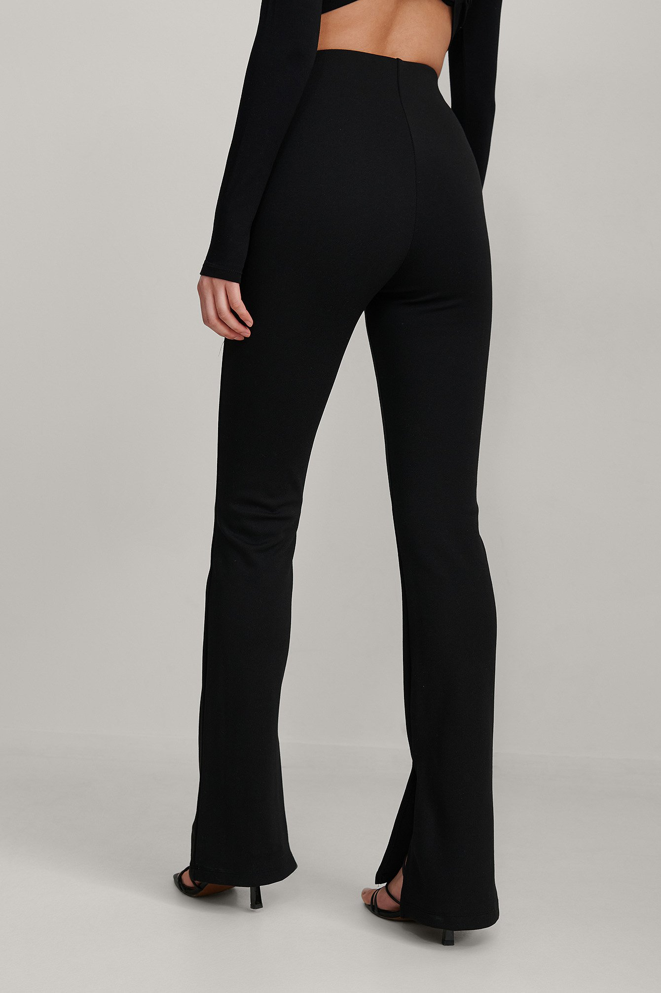 Black Seam Detail Slit Pants