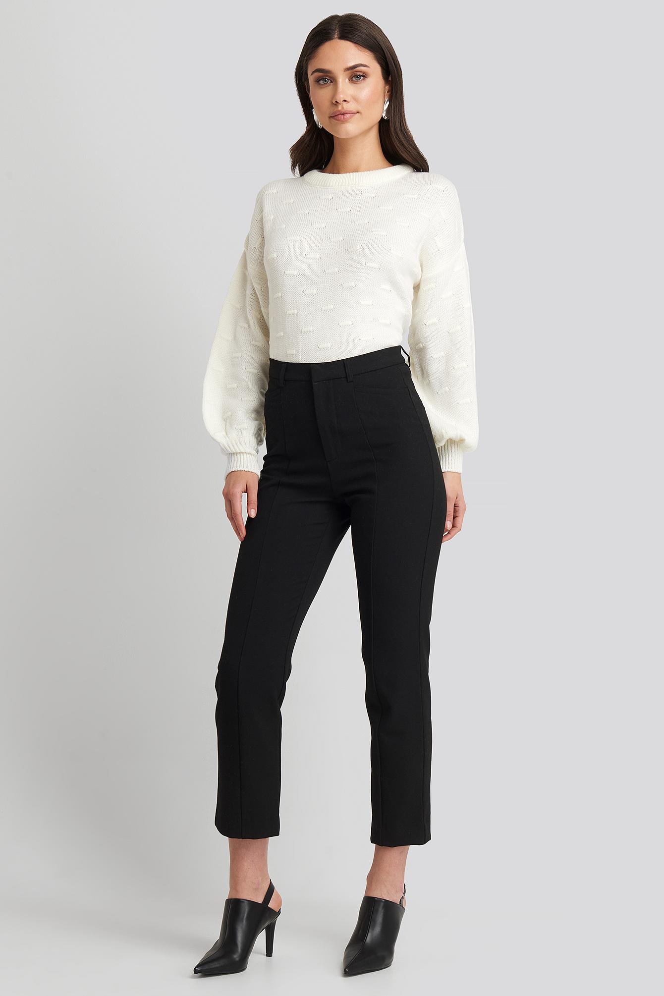 Seam Detail Straight Pants Black by Na Kd