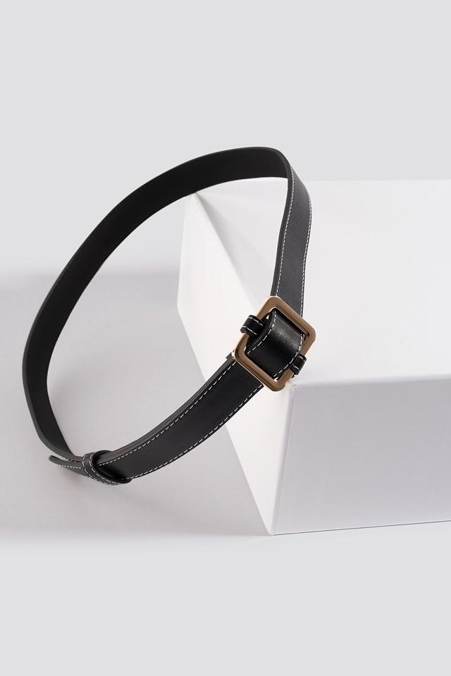 Seam Detailed Slim belt Black