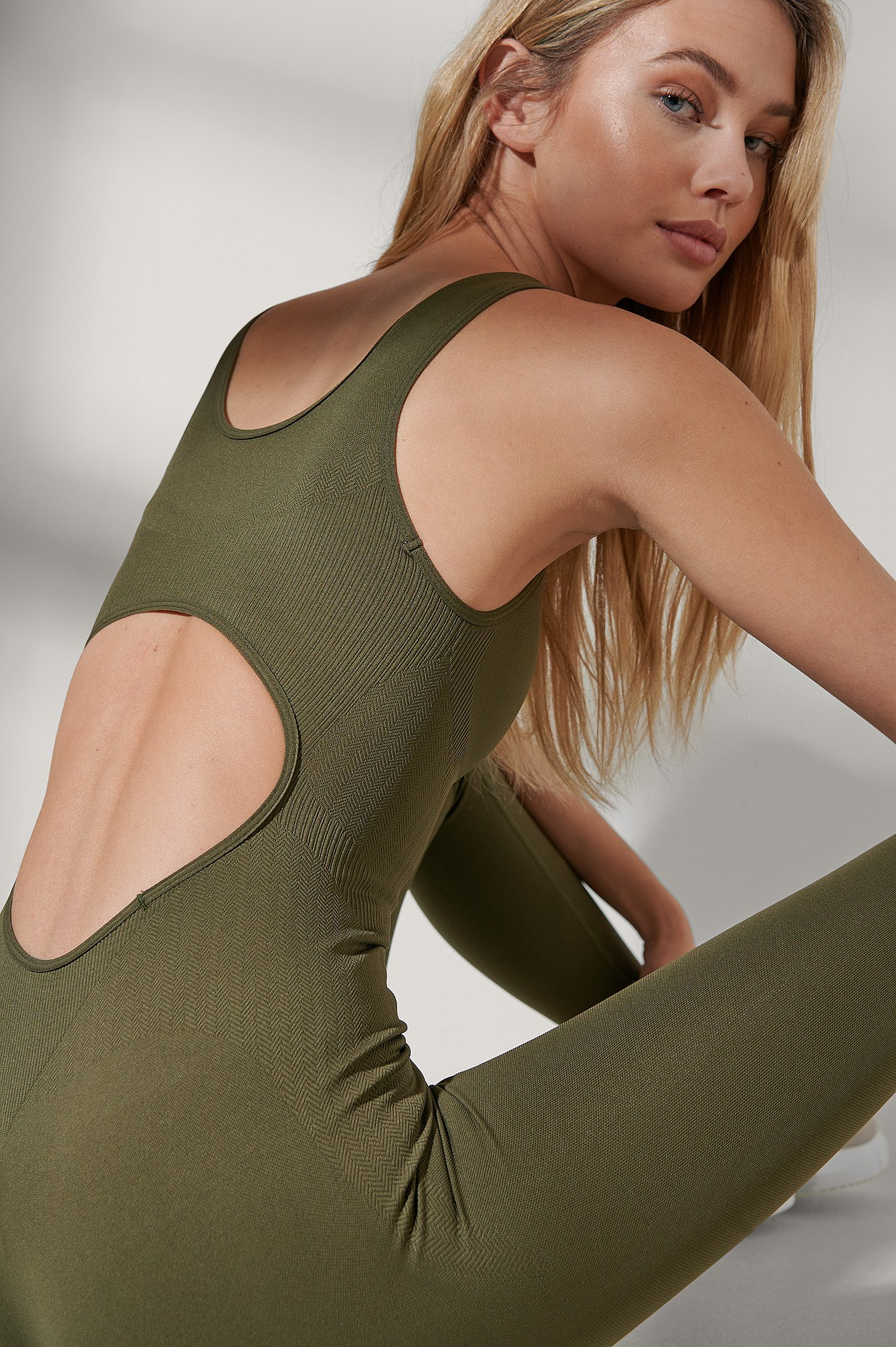 Dark Olive Seamless Half Zip Up Cropped Bodysuit