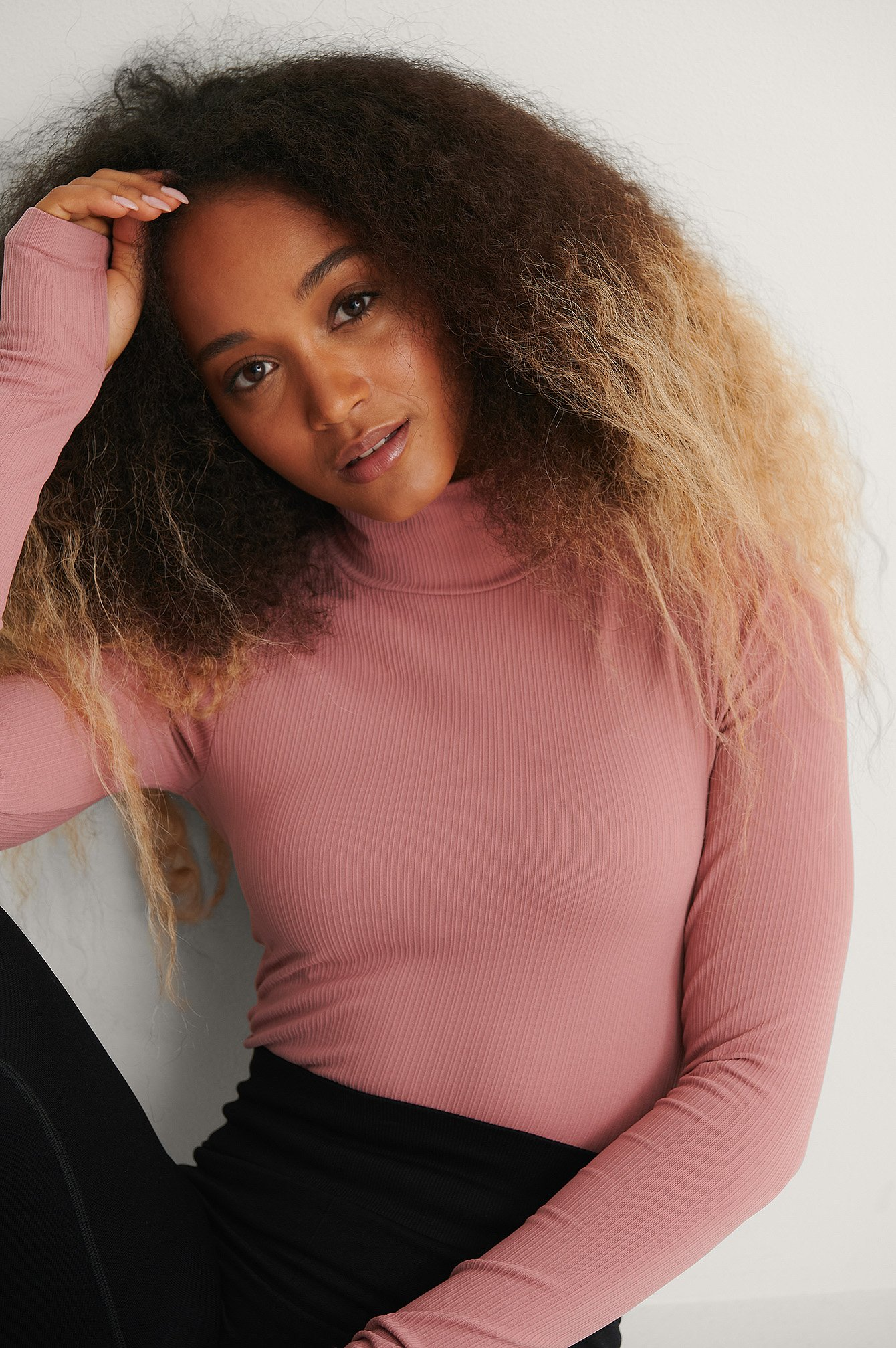 Pink Recycled Seamless High Neck Top