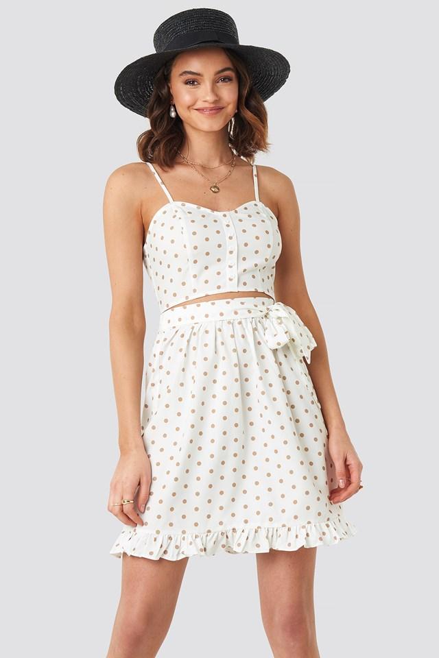 Self-Tie Dot Skirt White/Beige