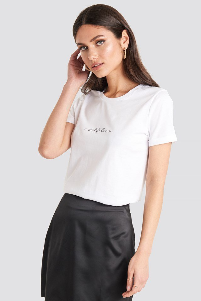 Self Love Roll Hem T-shirt Optical White