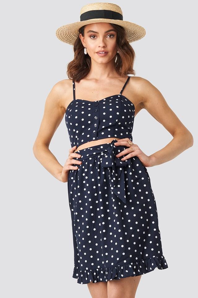 Self-Tie Dot Skirt Blue/White